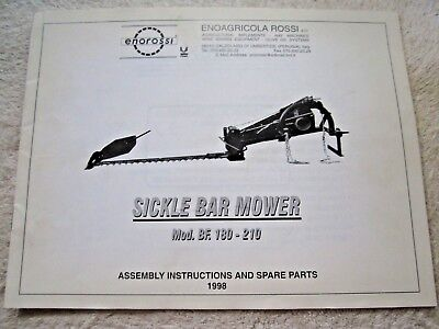 Enorossi Bf-180 Bf-210 Sickle Bar Mower Operators Assembly Parts Manual