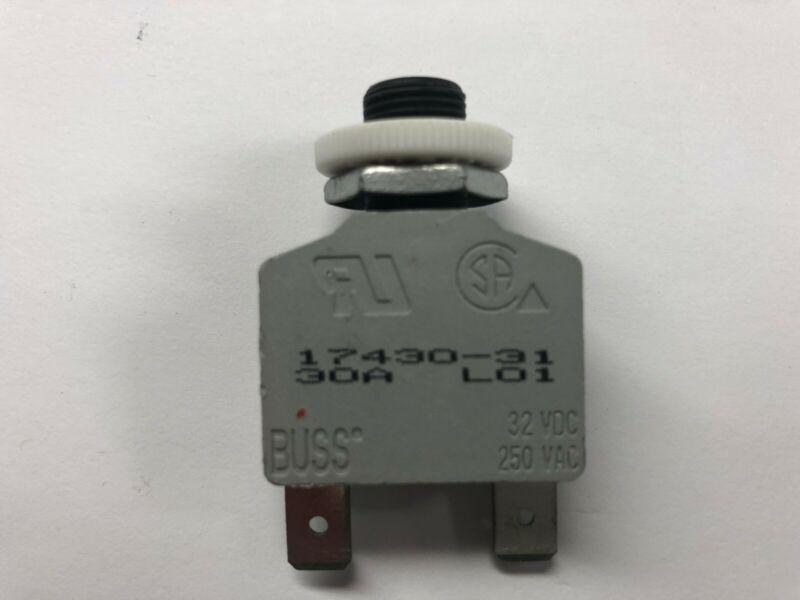 Bussmann 30A 2-Prong Circuit Breaker w/ Reset Button 17430-31 NOS
