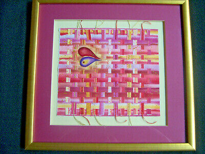 Mixed Media Woven Collage with Heart 20th C Contemporary Matted and Framed 16x17