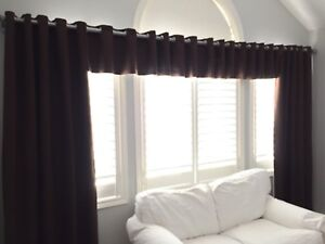 Custom made faux suede curtains and valance