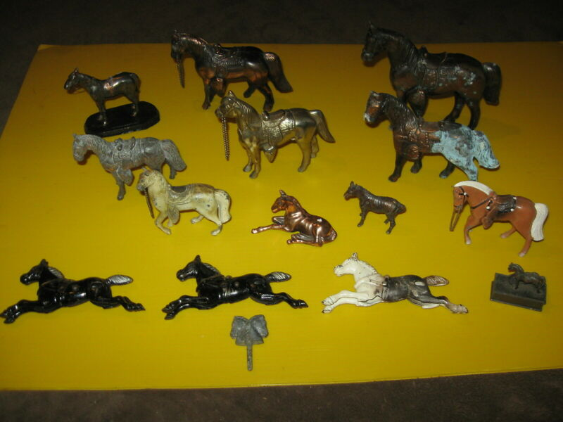 Fabulous Lot Of 15 Vintage Metal Horse Figurines/Figures - Must See These!!!!!