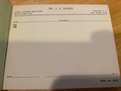 Vintage Prescription Pad – Collector's Item – Dr. J.E. Burns – Cabarrus Bank Con
