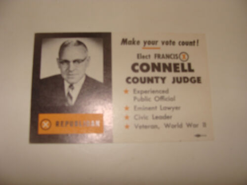 1960 Cook County Chicago Francis X Connell Republican Candidate Judge palm card