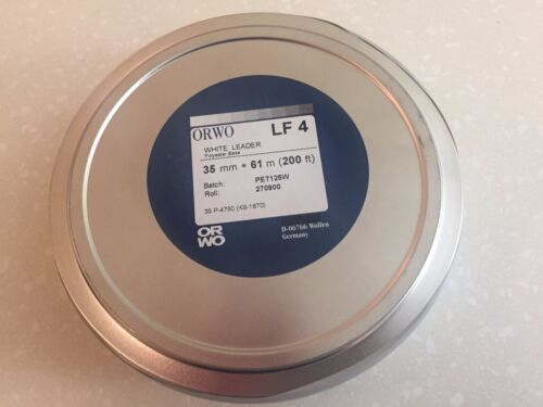 FILM LEADER 35MM 200 FT POLYESTER  WHITE DOUBLE PERF BY ORWO