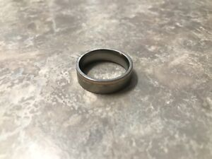 Men's wedding band with rose gold inlay, size 10.5