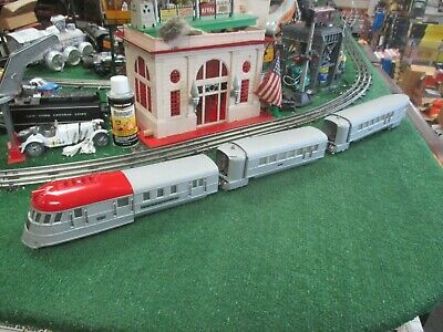 LIONEL PRE WAR 267E DSS FLYING YANKEE PASSENGER SET RED TOP REPAINTED SILVER