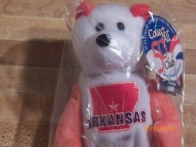 Arkansas Quarter Beanie Bear 25th State Collectible Stuffed Coin Bear retired