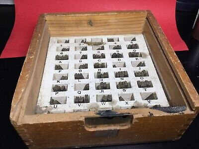 Kingsley Machine Type Set Century Block Used Foil Hot Stamp Brass Letters Wbox