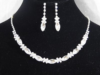 Round And Marquise Silver Clear Crystal Necklace & Drop Earrings Wedding - Round Crystals Necklace Set