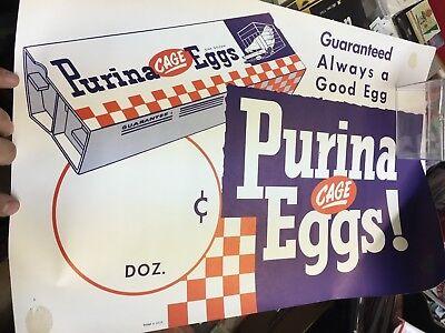 "VINTAGE ""PURINA CAGE EGGS"" ONE DOZEN CARTON-advertising Poster Unused"