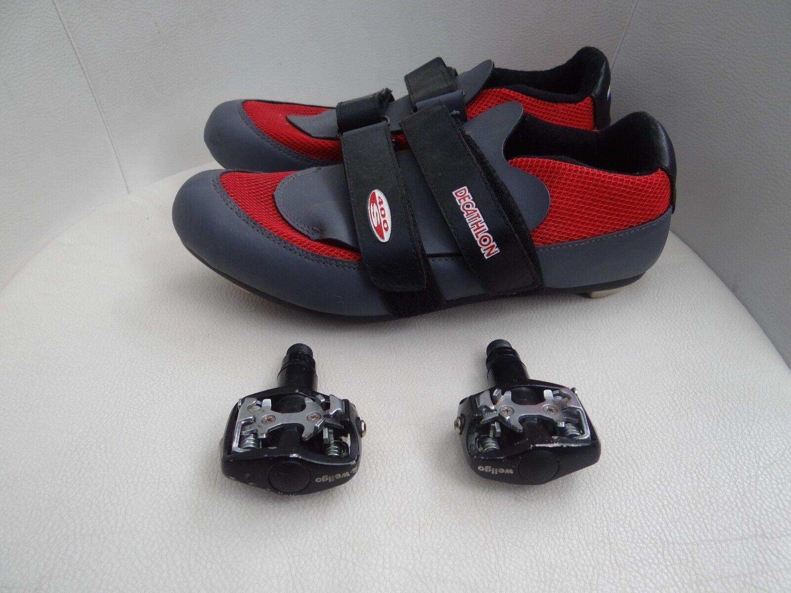 Set de Chaussures Vélo DECATHLON avec pédales adaptées 44