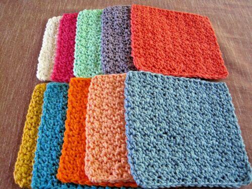 "10 Crochet  Dishcloths / Washcloths 100% Cotton - Handmade - 6 ""~ 10-1"