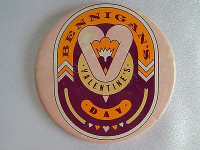Vintage Pinback Button, BENNIGAN'S Valentine's Day, Tavern & Restaurant Pin