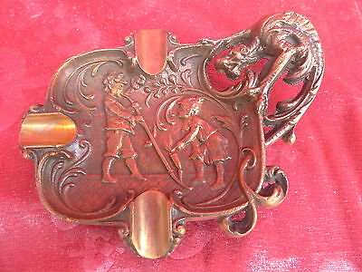 beautiful, old ashtray__relief decorated__Bronze__