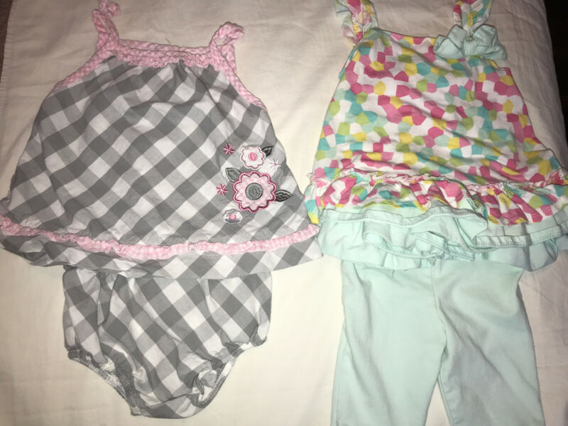 Baby Girls Dress Lot Size 12 Months Lot Of 4 Pc Little Me Sleeveless