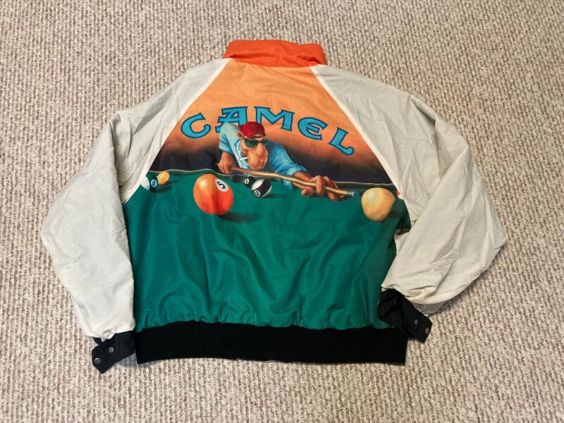 VINTAGE 90s Rare JOE CAMEL CIGARETTES POOL SHOOTER REVERSIBLE JACKET Sz XL