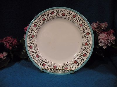 """Royal Crown Derby """" Star Wreath"""" 6 Luncheon Plates Turquoise trim Pink flowers"""