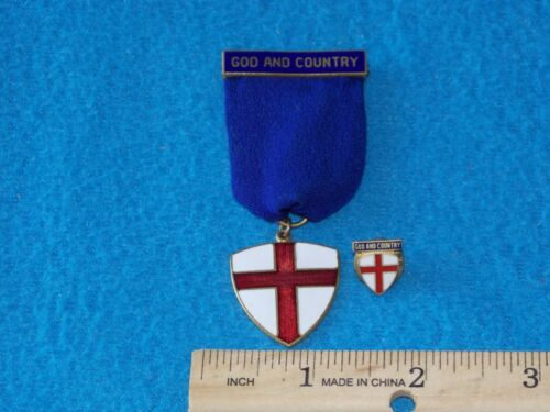 VINTAGE - Boy Scout Award Medal GOD AND COUNTRY - WITH PIN - LONG RIBBON