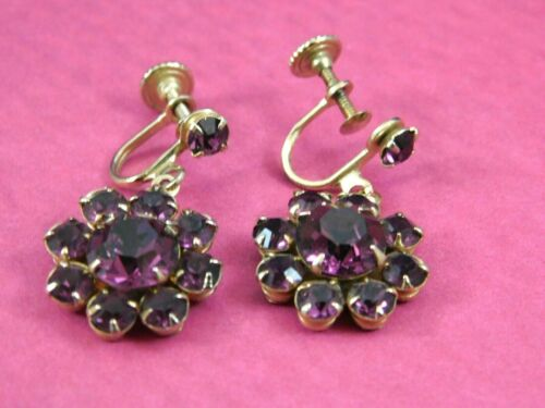 Vintage Purple Amethyst Rhinestone Earrings Drop Dangle Screw On