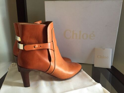 850 NIB CHLOE TUCSON METALCUFFED LEATHER ANKLE BOOTS COGNACsz 37575