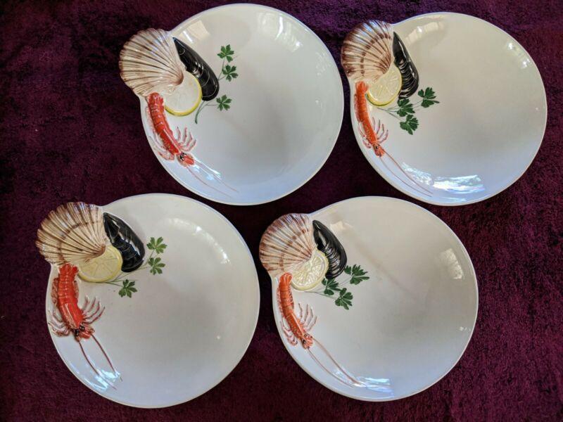 4 - VNTG Italian Ceramic Majolica Cioppino BOWLS Italy SHRIMP SEAFOOD FISH *EUC*