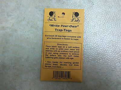 25 Zinc Trap Tags  Traps Trapping Garden Plants Trees Trot Lines