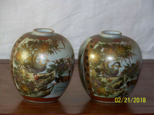 Pair-Kutani Hand Painted Signed Japanese Vases
