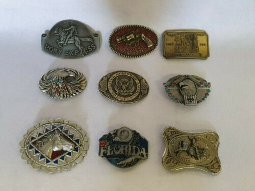 Collection of 9 Original Vintage Large Americana Belt Buckles - Western