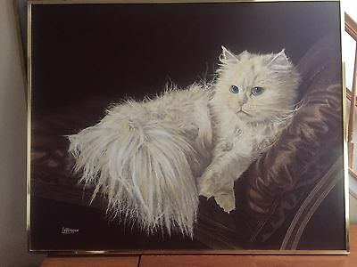 """""""THE RESTING CAT"""" OIL PAINTING SIGNED BY LETTERMAN, 48"""" x 60"""" """""""