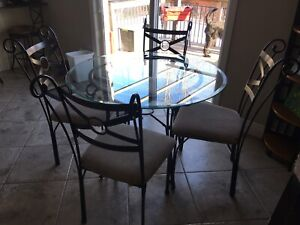 Glass Top Kitchen Table + Free Chairs