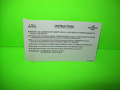 Bally BLACK JACK Original 1977 Flipper Game Pinball Machine Instruction Card