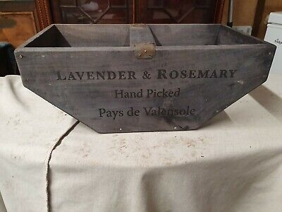WOODEN FLOWER GARDEN BOX LAVENDER ROSEMARY TRUGG