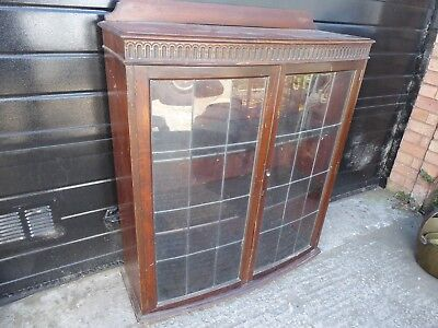 Vintage Oak Bow front Display Cabinet/Book Case Leaded Glass Doors