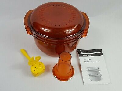 Tupperware Amber Stack Cooker 4 Piece & Cone Microwave Dish Cookware Set USA