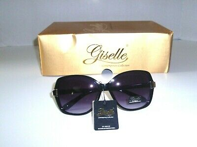 Giselle Butterfly Designer Sunglasses -  Black with Light Grey Blue Tint Lens  (Sunglasses With Blue Tint)