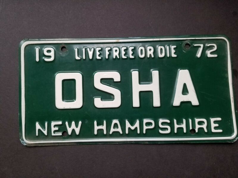 1972 New Hampshire vanity license plate OSHA