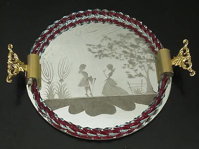 Etched Mirror Vanity Dresser Tray Vintage Venetian Murano Glass Twisted Rope Rim