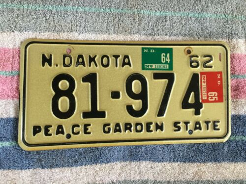 1962 1964 1965 North Dakota License Plate 81 974