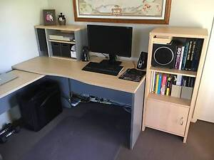 Desk with adjustable length side return, Filing Cabinet and Shelf Buderim Maroochydore Area Preview