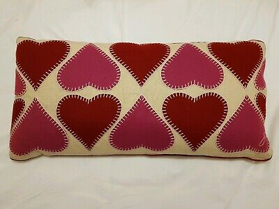 """BNWT Jan Constantine limited edition linen """"Heart Throb"""" cushion with pink heart"""