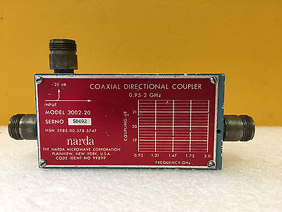 Narda 3002-20 0.95 To 2 Ghz 20 Db 200 W Type N F Directional Coupler. Tested