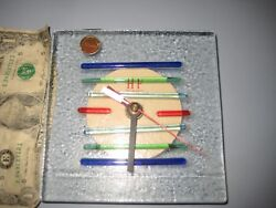 H F Murano Art Glass Quartz Table Shelf Clock Hand Made Multi-Color Bars w/Tag