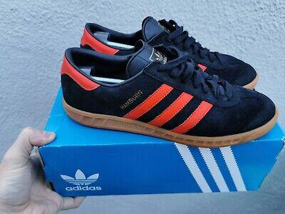 Adidas Originals Hamburg - Mens Black & Orange Trainers Uk9