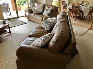 MORAN 2 Piece Leather Lounge Suite - Good Condition