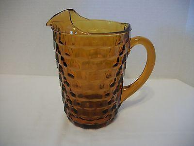 VINTAGE AMBER INDIANA GLASS WHITEHALL PITCHER, ICE LIP, CUBIST DESIGN
