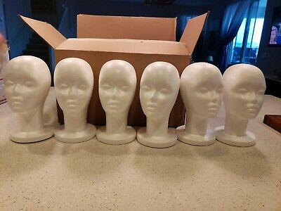 Styrofoam Foam Mannequin Female Head Model Wig Glasses Hat Display Stand Lot 6