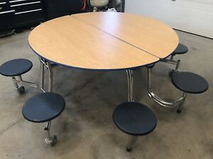 """60"""" folding round table with 8 attached stools"""