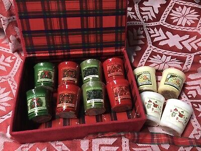 Yankee Candle 12 Rare Christmas Votives In Quilted Gift Case All Wrapped New
