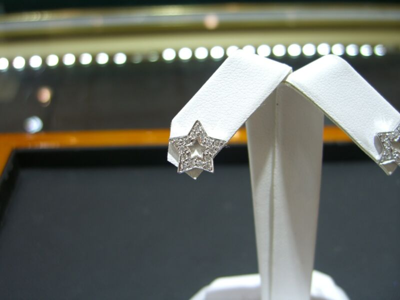 Fine Diamond Star Stud Earrings 0.30 Carat 14 Karat White Gold New!!