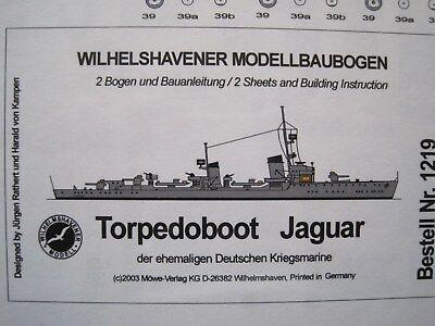 Torpedoboot Jaguar Wilhelmshavener Modellbaubogen Bastelbogen Kartonmodell